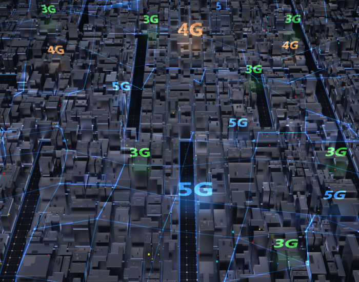Aerial view city in blue colors, connected of plexus various genarations (3G, 4G, 5G ) wireless networks. Smart city and global network and data connections. IoT. ICT. 3d render.