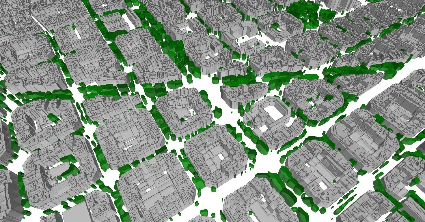 barcelona 3d buildings and 3d trees